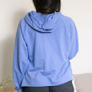 wild fable Tops - Baby Blue Raw Edge Drawstring Hoodie